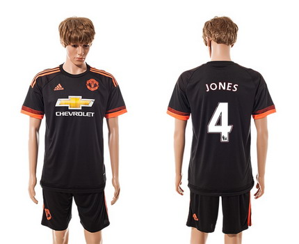 2015-16 Men's Manchester United FC Alternate #4 Phil Jones Black Soccer Shirt Kit