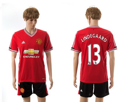 2015-16 Men's Manchester United Home #13 Anders Lindegaard Red Soccer Shirt Kit