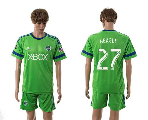 2015-16 Men's Seattle Sounders Home #27 Lamar Neagle Green Soccer Shirt Kit