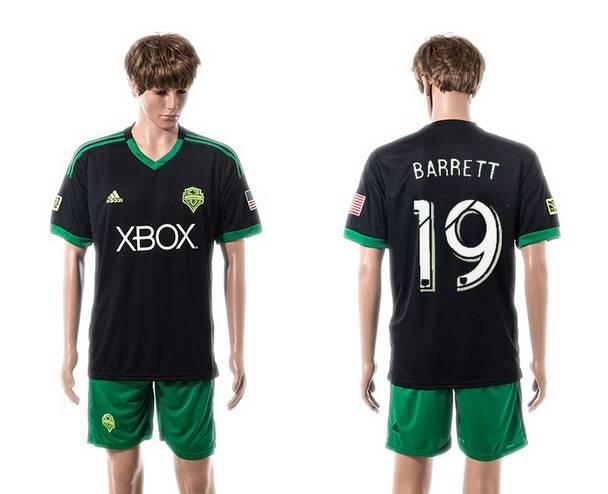 2015-16 Men's Seattle Sounders Third #19 Chad Barrett Black Soccer Shirt Kit