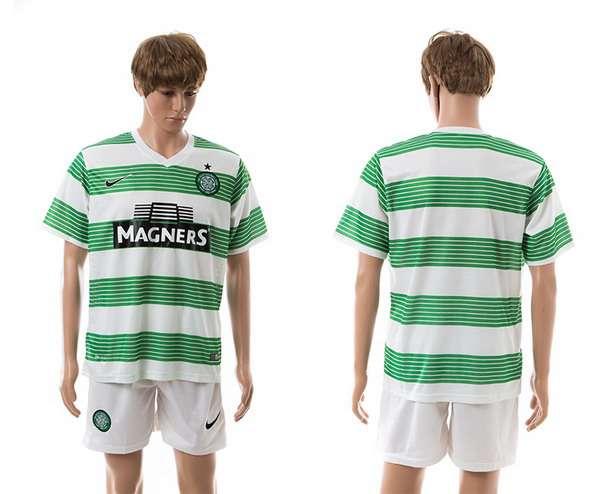 2015-16 Men's The Celtic FC Home Customized Green With White Soccer Shirt Kit