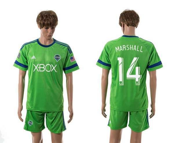 2015-16 Men's Seattle Sounders Home #14 Chad Marshall Green Soccer Shirt Kit