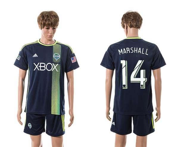 2015-16 Men's Seattle Sounders Away #14 Chad Marshall Navy Blue Soccer Shirt Kit