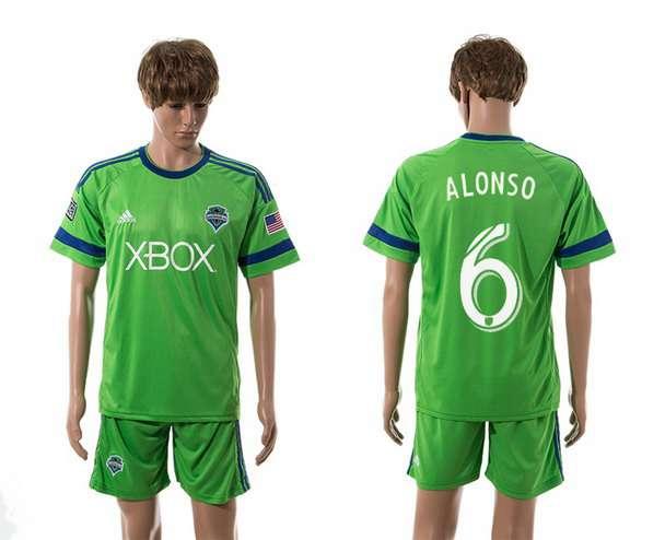 2015-16 Men's Seattle Sounders Home #6 Osvaldo Alonso Green Soccer Shirt Kit