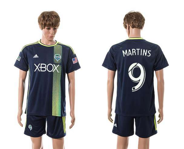 2015-16 Men's Seattle Sounders Away #9 Obafemi Martins Navy Blue Soccer Shirt Kit