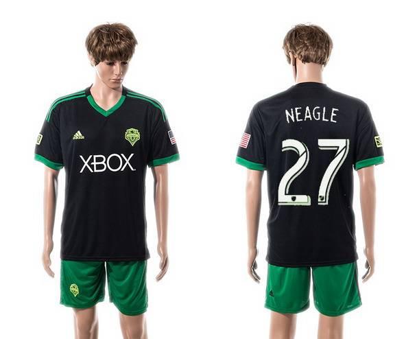 2015-16 Men's Seattle Sounders Third #27 Lamar Neagle Black Soccer Shirt Kit