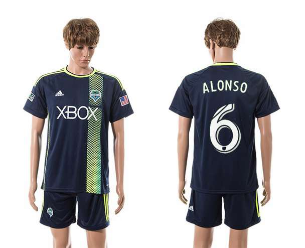 2015-16 Men's Seattle Sounders Away #6 Osvaldo Alonso Navy Blue Soccer Shirt Kit