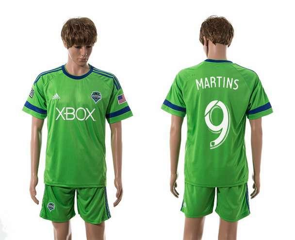 2015-16 Men's Seattle Sounders Home #9 Obafemi Martins Green Soccer Shirt Kit