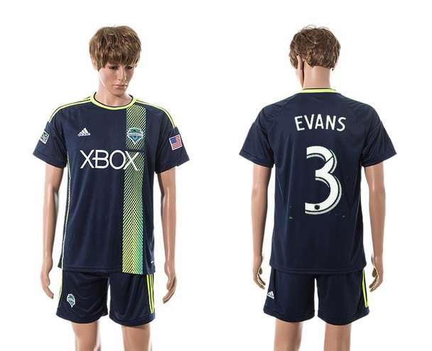 2015-16 Men's Seattle Sounders Away #3 Brad Evans Navy Blue Soccer Shirt Kit