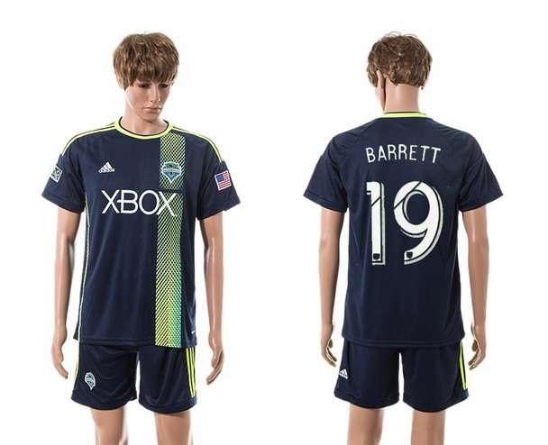 2015-16 Men's Seattle Sounders Away #19 Chad Barrett Navy Blue Soccer Shirt Kit