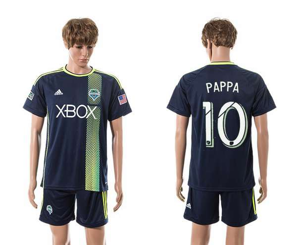2015-16 Men's Seattle Sounders Away #10 Marco Pappa Navy Blue Soccer Shirt Kit