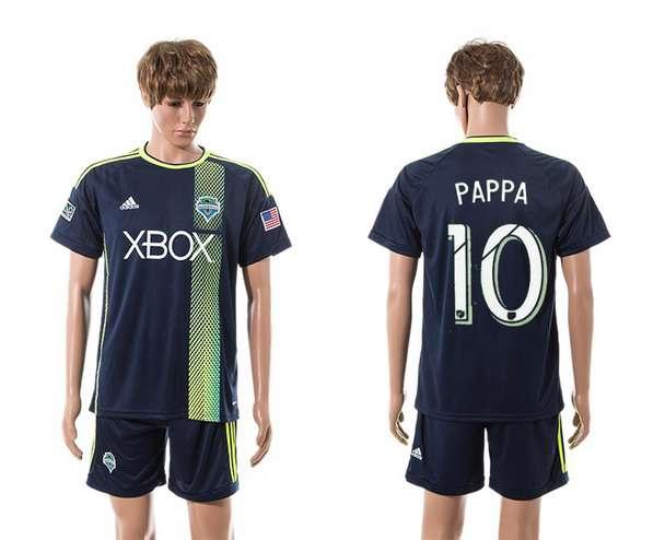 2015-16 Men's Seattle Sounders Away #10 Marco Pappa Navy Blue Soccer Shirt Kit