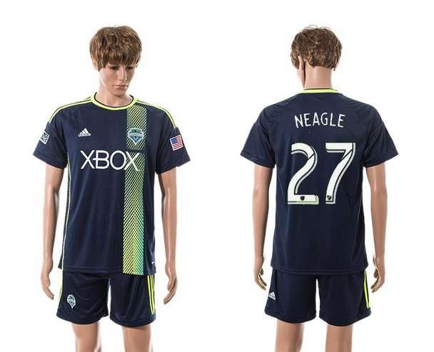2015-16 Men's Seattle Sounders Away #27 Lamar Neagle Navy Blue Soccer Shirt Kit