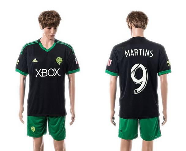 2015-16 Men's Seattle Sounders Third #9 Obafemi Martins Black Soccer Shirt Kit