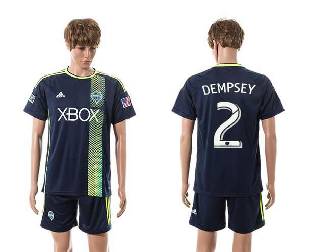 2015-16 Men's Seattle Sounders Away #2 Clint Dempsey Navy Blue Soccer Shirt Kit