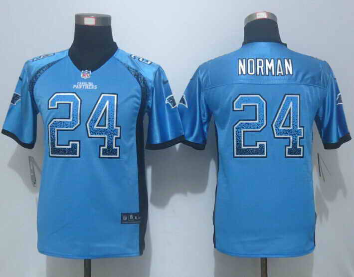 Nike Panthers 24 Josh Norman Blue Drift Fashion Youth Jersey
