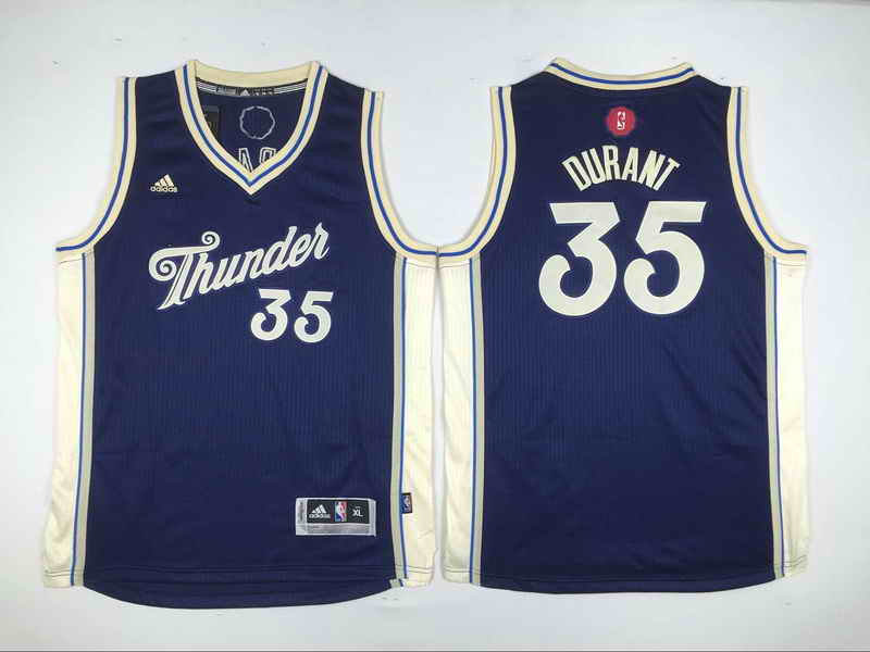 Thunder 35 Kevin Durant Navy Blue 2015-16 Christmas Day Swingman Youth Jersey