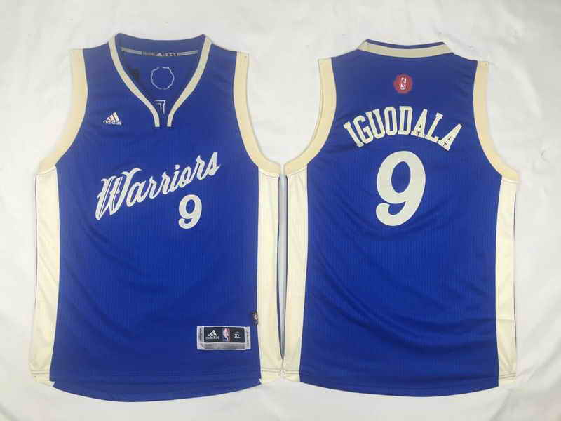 Warriors 9 Andre Iguodala Blue 2015-16 Christmas Day Swingman Youth Jersey