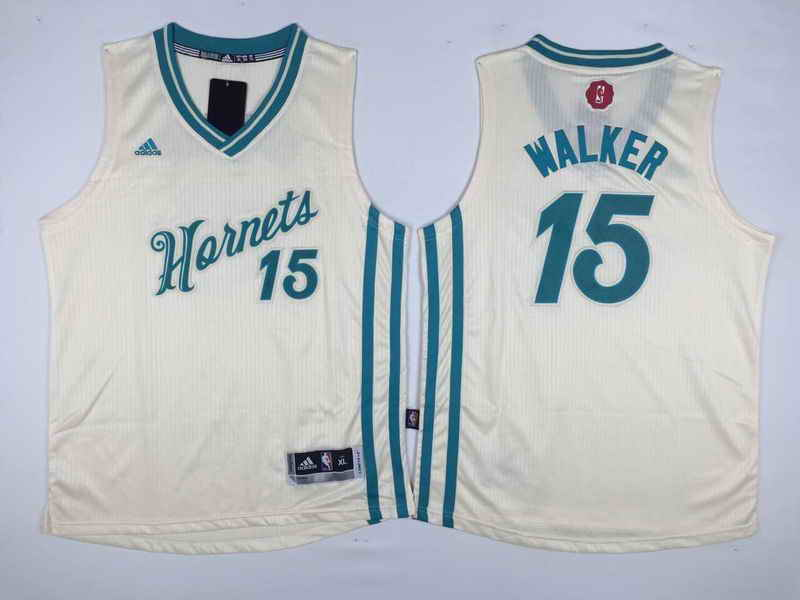 Hornets 15 Kemba Walker Cream 2015-16 Christmas Day Swingman Youth Jersey