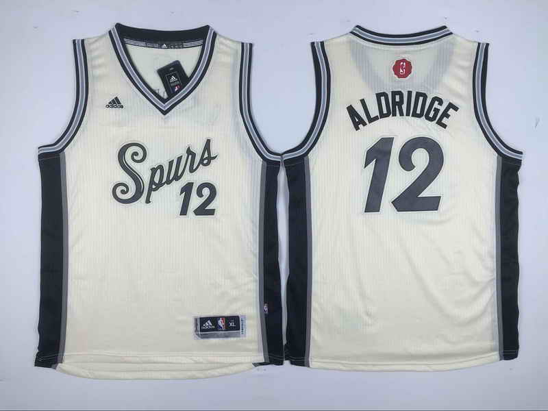 Spurs 12 LaMarcus Aldridge Cream 2015-16 Christmas Day Swingman Youth Jersey