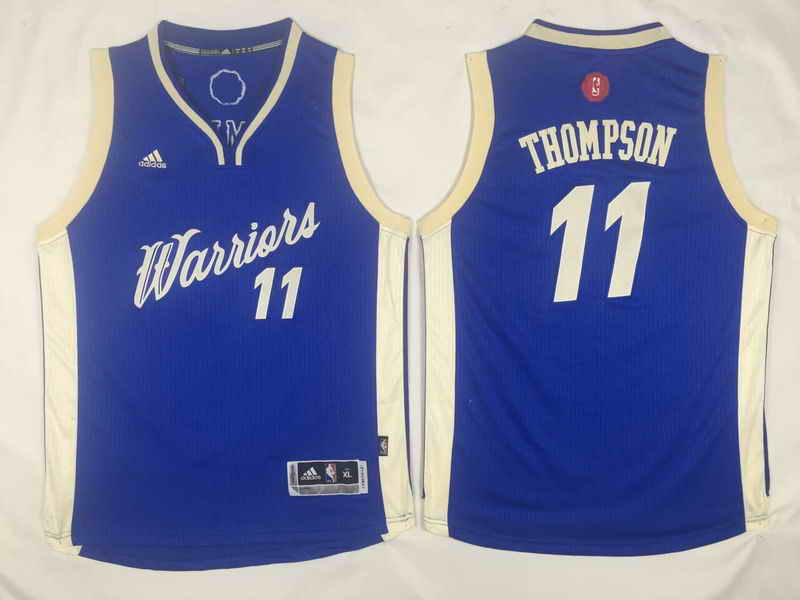 Warriors 11 Klay Thompson Blue 2015-16 Christmas Day Swingman Youth Jersey