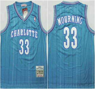 Charlotte Hornets #33 Alonzo Mourning Green Swingman Throwback Jersey