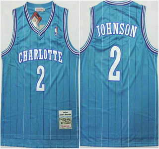 Charlotte Hornets #2 Larry Johnson Green Swingman Throwback Jersey