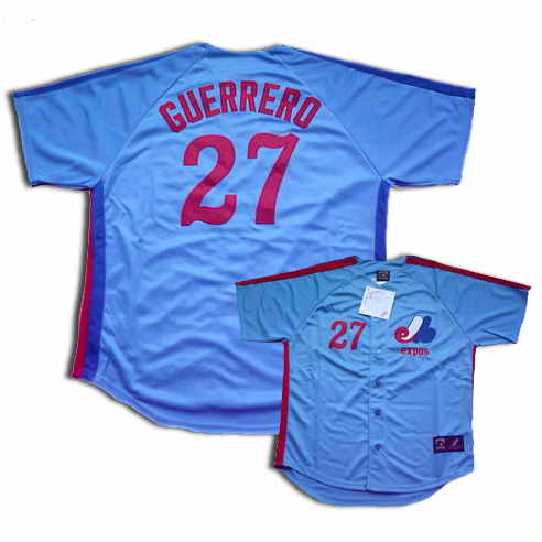 Montreal Expos #27 Guerrero Blue Throwback Jersey