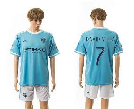 2015-16 New York City FC #7 David Villa Home Soccer Shirt Kit