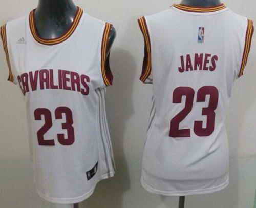Cavaliers #23 LeBron James White Women's Home Stitched NBA Jersey