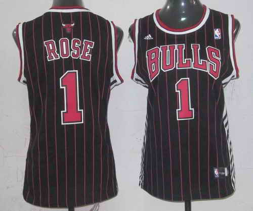 Bulls #1 Derrick Rose Black Strip Women's Fashion Stitched NBA Jersey