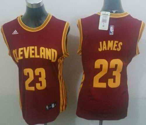 Cavaliers #23 LeBron James Red Women's Road Stitched NBA Jersey