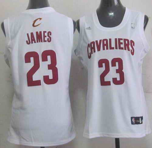 Cavaliers #23 LeBron James White Women's Fashion Stitched NBA Jersey