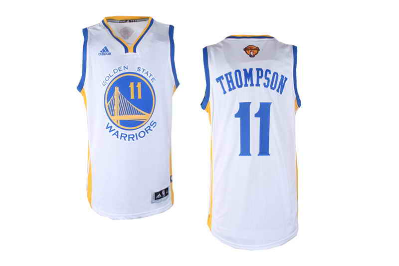 Revolution 30 Warriors #11 Klay Thompson White The Finals Patch Stitched NBA Jersey