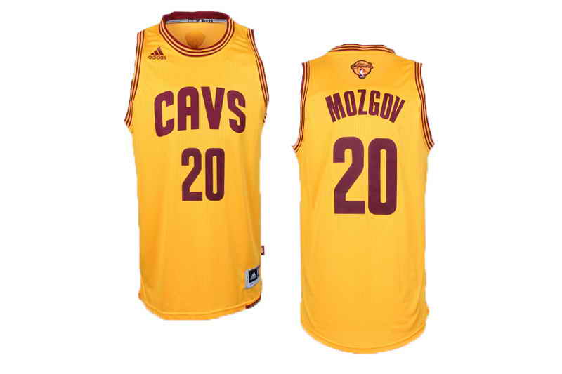 Cavaliers #20 Timofey Mozgov Yellow Alternate The Finals Patch Stitched NBA Jersey