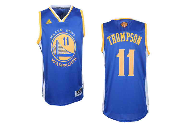 Revolution 30 Warriors #11 Klay Thompson Blue The Finals Patch Stitched NBA Jersey