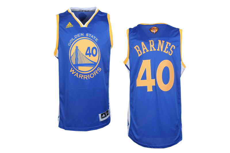 Revolution 30 Warriors #40 Harrison Barnes Blue The Finals Patch Stitched NBA Jersey