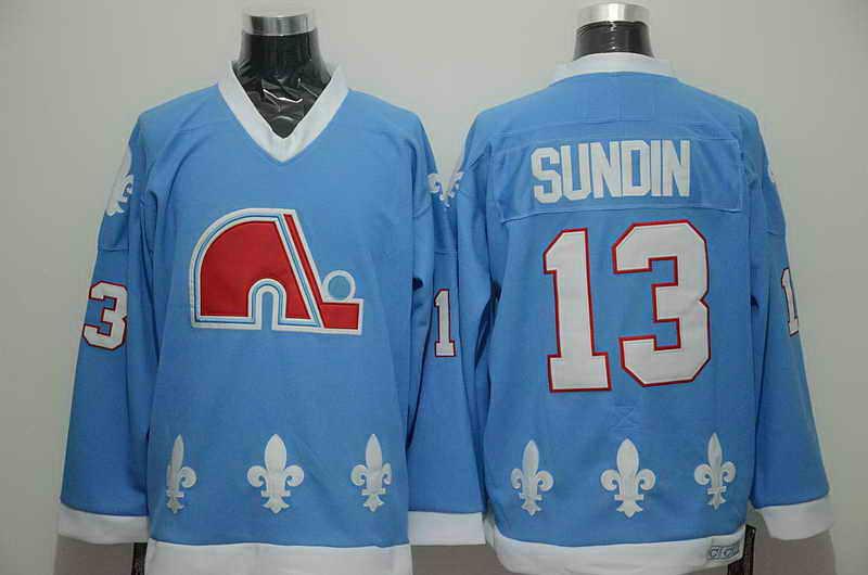 Quebec Nordiques #13 Sundin Light Blue Throwback Jersey