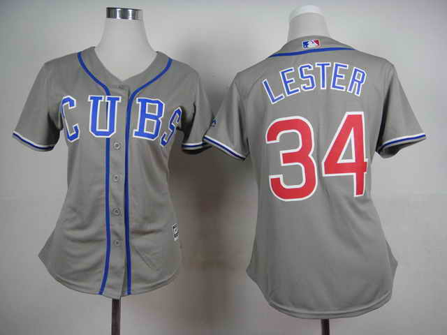 Chicago Cubs #34 Lester Grey Women 2015 New Jersey