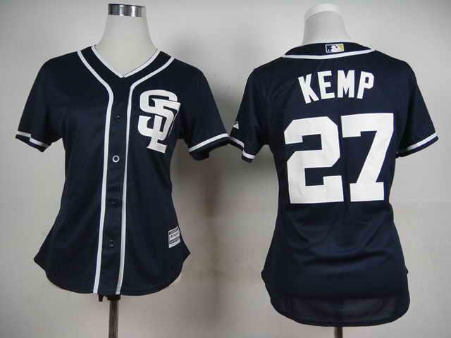 San Diego Padres #27 Kemp Dark Blue 2015 Cool Base Women Jersey