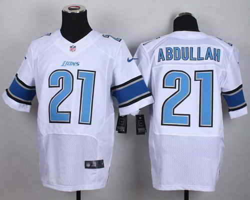 Nike Lions #21 Ameer Abdullah White Men's Stitched NFL Elite Jersey