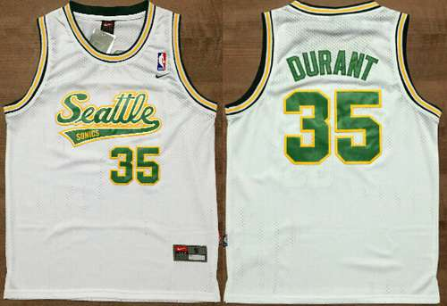 Men's Seattle Supersonics #35 Kevin Durant White AU Soul Swingman Jersey