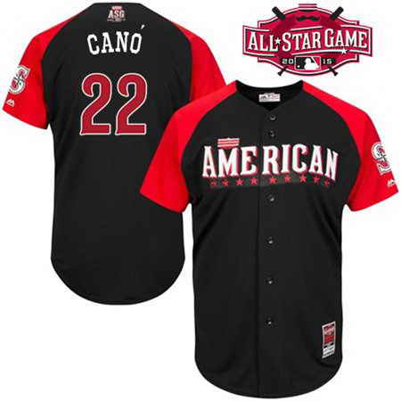 Men's American League Seattle Mariners #22 Robinson Cano 2015 MLB All-Star Black Jersey
