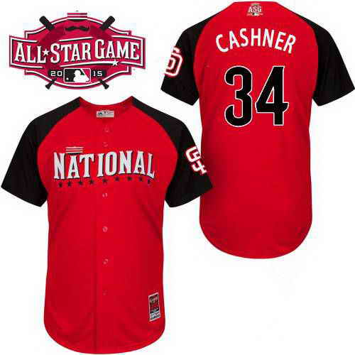 Men's National League San Diego Padres #34 Andrew Cashner 2015 MLB All-Star Red Jersey