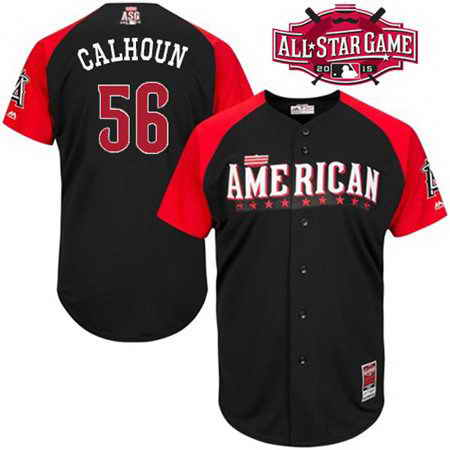 Men's American League LA Angels Of Anaheim #56 Kole Calhoun 2015 MLB All-Star Black Jersey