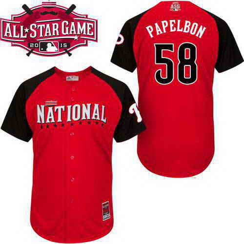 Men's National League Philadelphia Phillies #58 Jonathan Papelbon 2015 MLB All-Star Red Jersey
