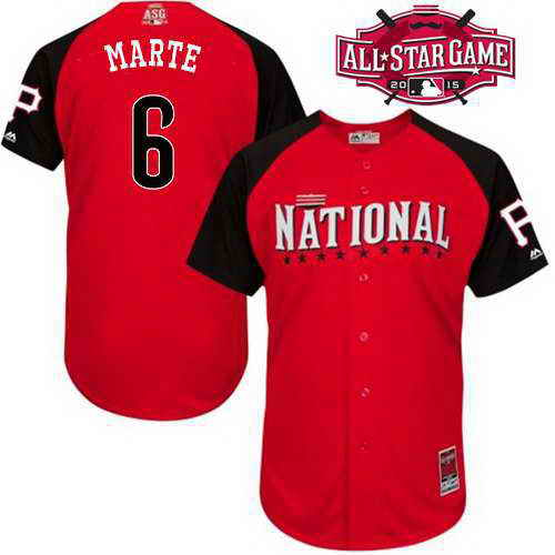 Men's National League Pittsburgh Pirates #6 Starling Marte 2015 MLB All-Star Red Jersey