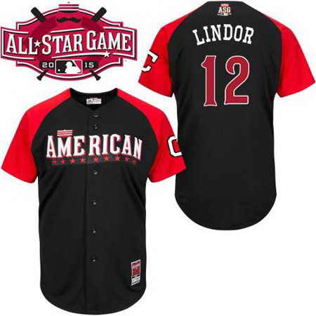 Men's American League Cleveland Indians #12 Francisco Lindor 2015 MLB All-Star Black Jersey