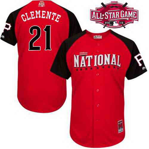 Men's National League Pittsburgh Pirates #21 Roberto Clemente 2015 MLB All-Star Red Jersey