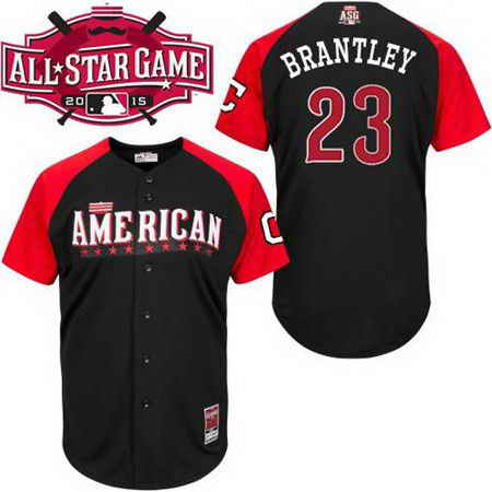 Men's American League Cleveland Indians #23 Michael Brantley 2015 MLB All-Star Black Jersey